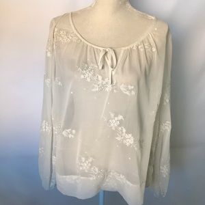Guess off white sheer blouse w/ floral embroidery